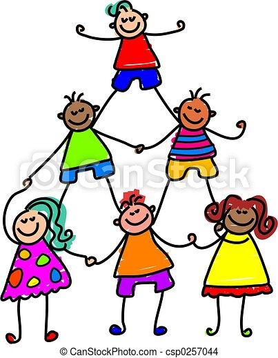 trabajo en equipo, niños - csp0257044