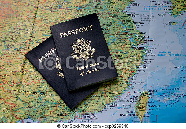 Passports and Map of Asia - csp0259340