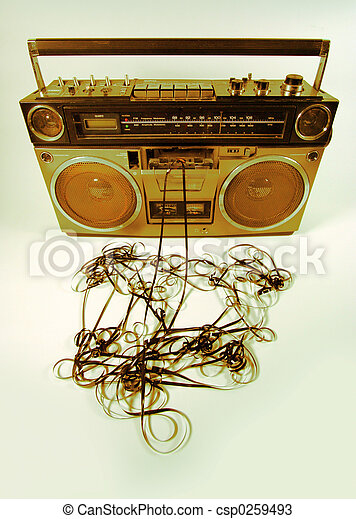 tape spewing boombox - csp0259493
