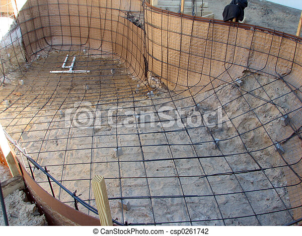 Banco de fotos de construction032 piscina tiro de um for Como construir una piscina en concreto
