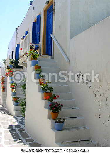Stairs to front door, Paros - csp0272066
