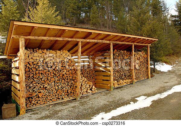 galpão, Ao ar livre, armazenar, madeira - csp0273316