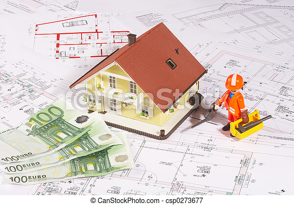 my house with a worker - csp0273677