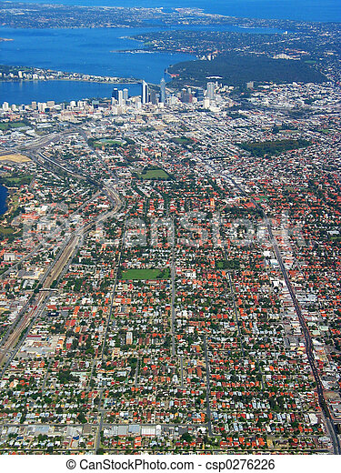 1, ville, vue, aérien,  Perth - csp0276226
