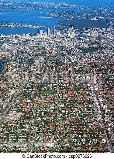 1, cidade, vista, aéreo,  Perth - csp0276226