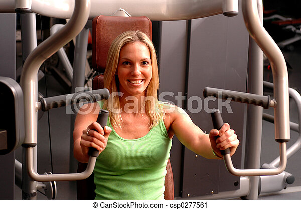 beautiful woman in fitness gym - csp0277561