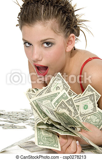 Well dressed teen rolling in one dollar bills. Save Comp