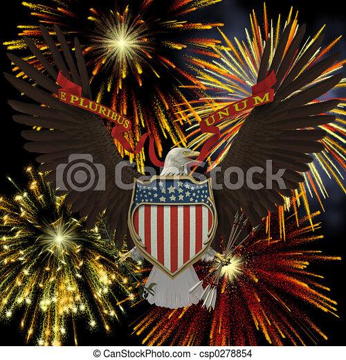 US Emblem over Fireworks - csp0278854