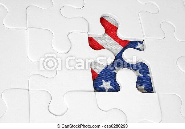 norteamericano, rompecabezas, bandera - csp0280293