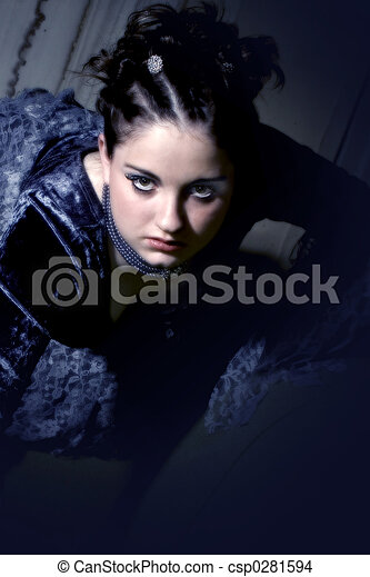 Goth Girl in Blue - csp0281594