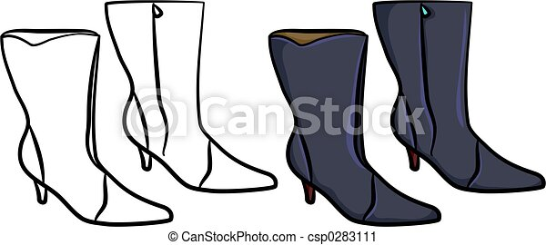 Fashion Boots Drawing Ladies Boots Csp0283111