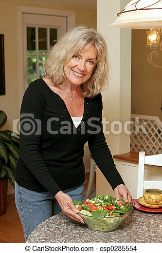 Healthy Living - Serving Salad - csp0285554