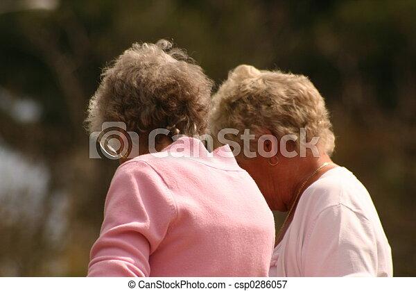 two elderly women - csp0286057