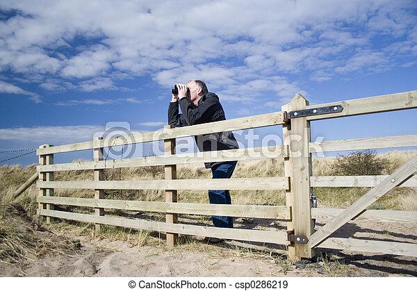 man birdwatching 2 - csp0286219