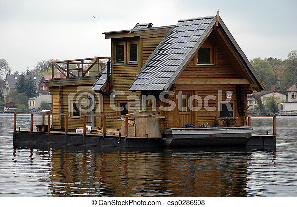 Pictures of houseboat - a swimming house csp0286908 - Search Stock ...