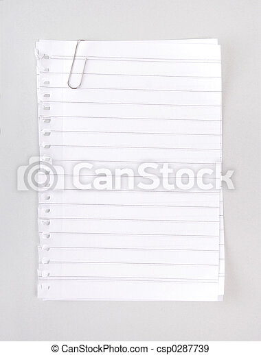 Lined Notebook Paper with Clip - csp0287739