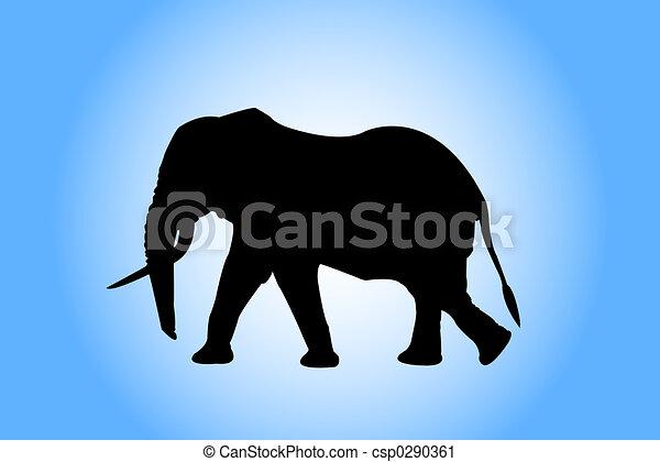 mammals, art, elephant, drawing, black, nature, animal - csp0290361