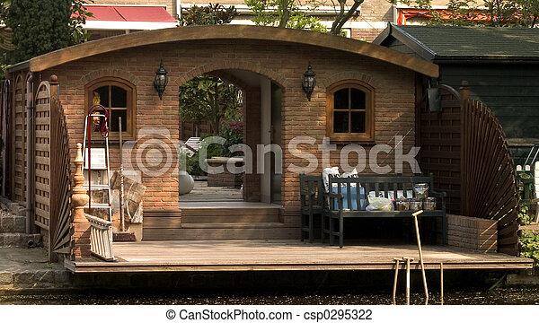 Stock photo of garden shed large brick garden shed for Brick garden shed designs