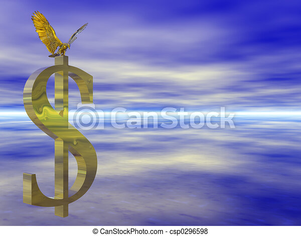 American bald eagle on dollar sign. - csp0296598