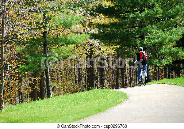 Cycling in a park - csp0296760