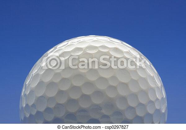 Golf ball on blue background