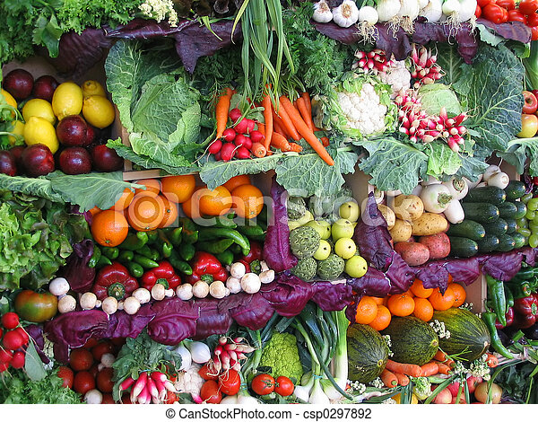 Colorful vegetables and fruits - csp0297892