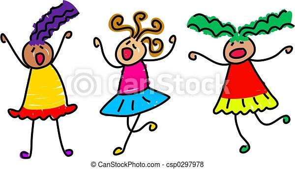 Group Girls Clipart Group of Noisy Little Girls