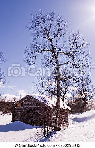 Stock de fotos de invierno caba a un invierno caba a en invierno csp0298043 buscar - Cabana invierno ...
