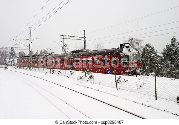 Winter Train Station - csp0298407