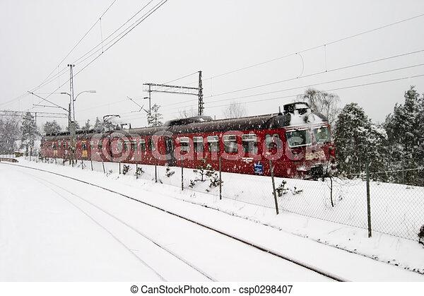 Winter Train Station - csp0298407