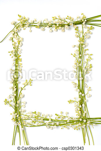 Lily of the valley flowers on paper frame border isolated background - csp0301343