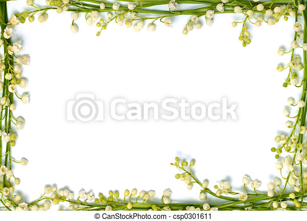 Lily of the valley flowers on paper frame border isolated horizontal background - csp0301611