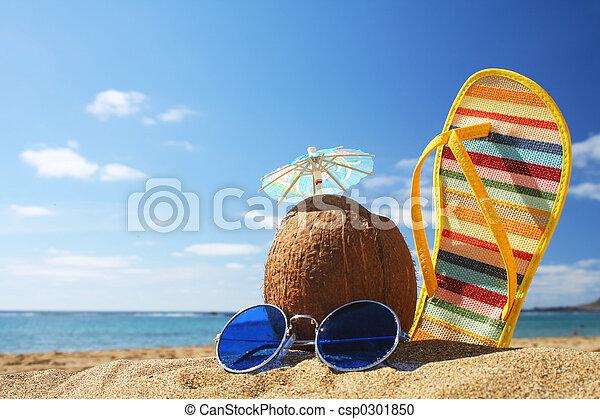 sommer, sandstrand, Szene - csp0301850