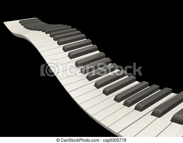 Stock Illustration of Wavy piano keys - 3D render of wavy ...