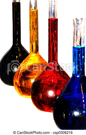 Colorful chemistry liquid glass retorts isolated - csp0306216