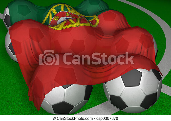 3D-rendering Portugal flag and soccer-balls - csp0307870