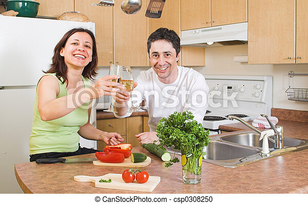 couple in the kitchen - csp0308250