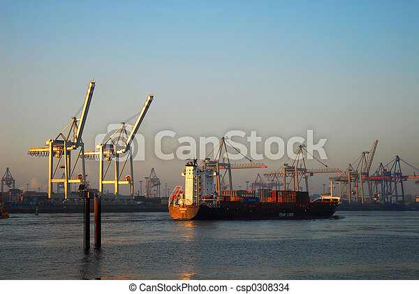 stock photo of bon voyage cargo ship is leaving hamburg harbour csp0308334 search stock. Black Bedroom Furniture Sets. Home Design Ideas