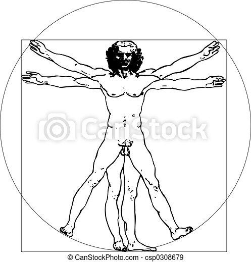 da Vinci Man (vector illustration) - csp0308679