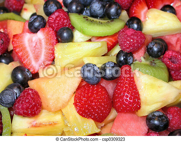 Stock Photos of Fruit Salad - assorted fruit in a fruit salad