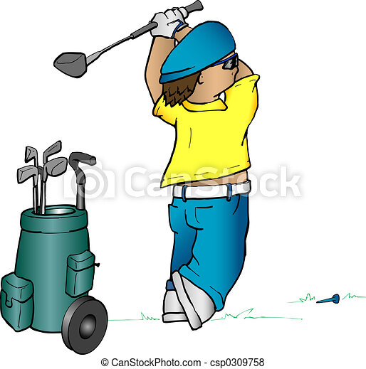 Cartoon golfer - csp0309758