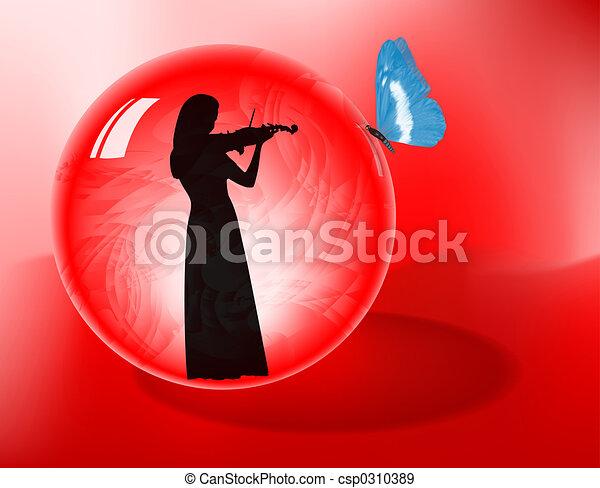 Violinist In Sphere - csp0310389