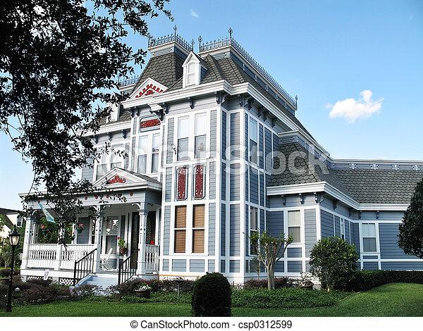 Three-Story Queen Anne Victorian Home - csp0312599