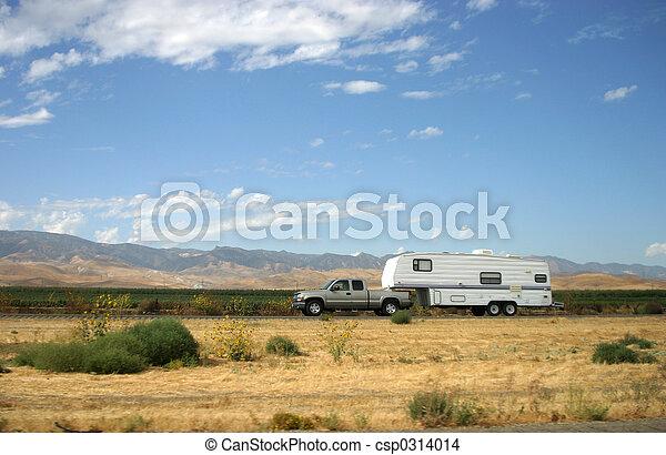 Truck Pulling Trailer - csp0314014