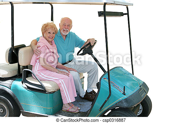 Golf Cart Seniors Isolated - csp0316887