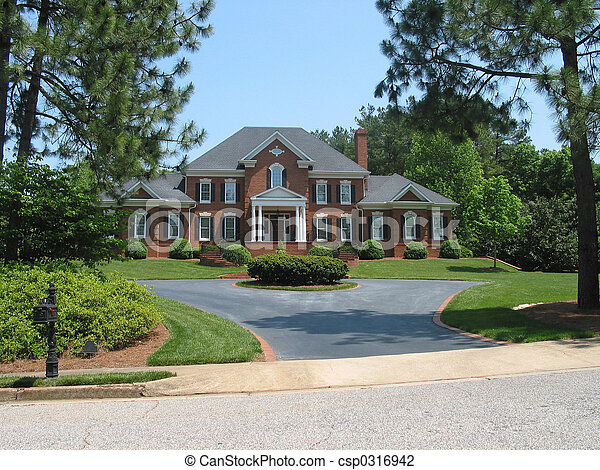 Stock photo of american dream house red brick american for American dream homes