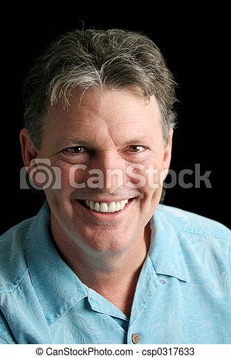sorrisos, maduras, homem - csp0317633