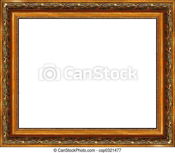 anticaglia, immagine, dorato, cornice, isolato, rustico, scuro - csp0321477