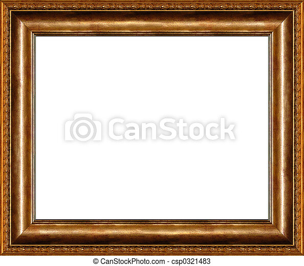 Antique rustic dark golden picture frame isolated - csp0321483