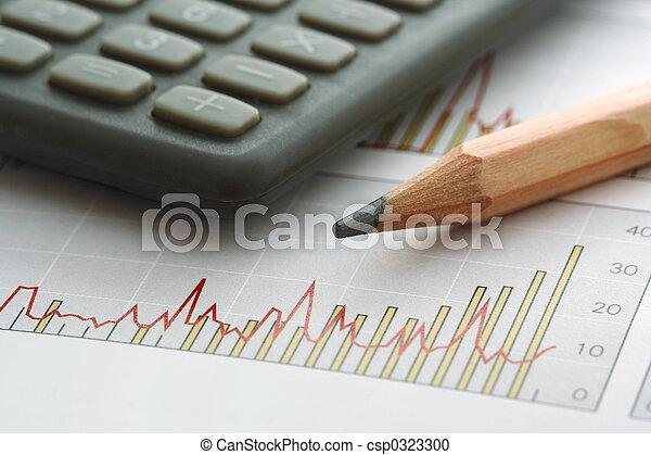 鉛筆, 計算器, 圖表 - csp0323300